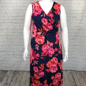 NY Collection Navy & Pink Floral Maxi Dress 1XP
